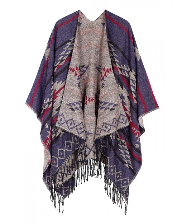 Urban CoCo Women's Printed Tassel Open front Poncho Cape Cardigan Wrap Shawl - Navy Blue-series 3 - C012N00M9D5