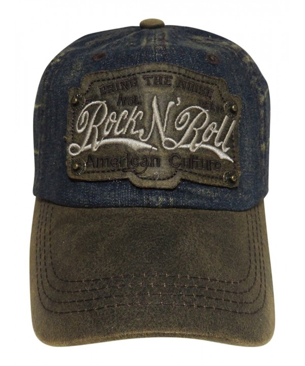 Rock N Roll Washed Denim Baseball Cap Headwear Hat - Dark Denim/Brown - CW12KWFJJMT