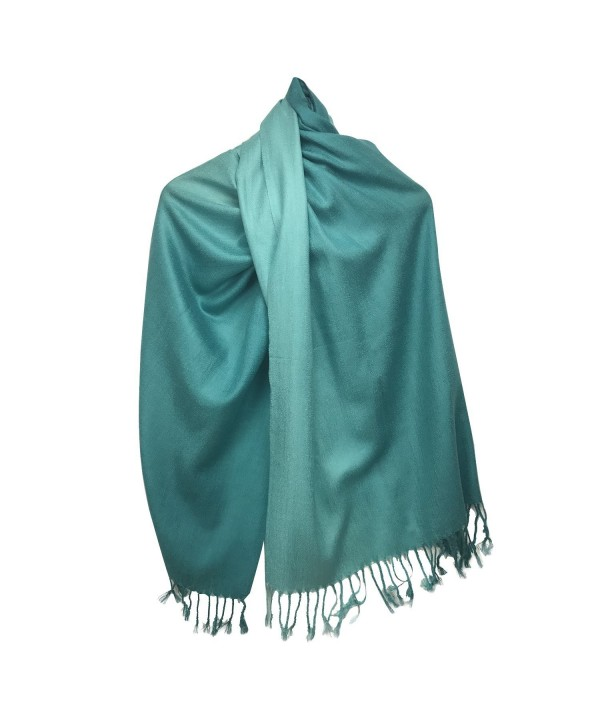 Xelitem Silk Pashmina Shaded Large Scarf Shawl Wrap - Light Blue Shade - CM17YH9Q8QZ