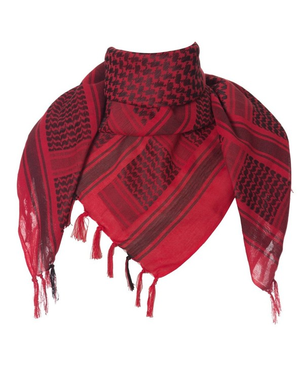 Leonal Military Scarf Wrap Shemagh Square Head Neck Scarves for Men - Red - C112N30GKK5