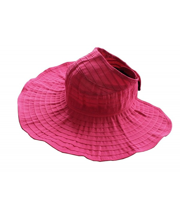 CHUNG Women Sun UV Protection Hat Top Open Packable Foldable Beach Travel - Hot Pink - CQ17Z3W70E7