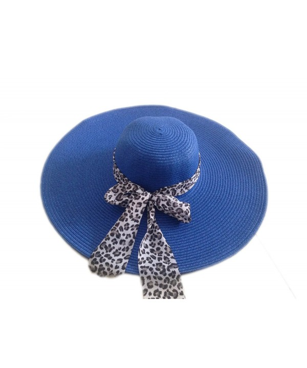 JTC Women's Straw Sun Floppy Hat White Leopard Ribbon 12 Colors - Dark Blue - CR11KSVIPYV