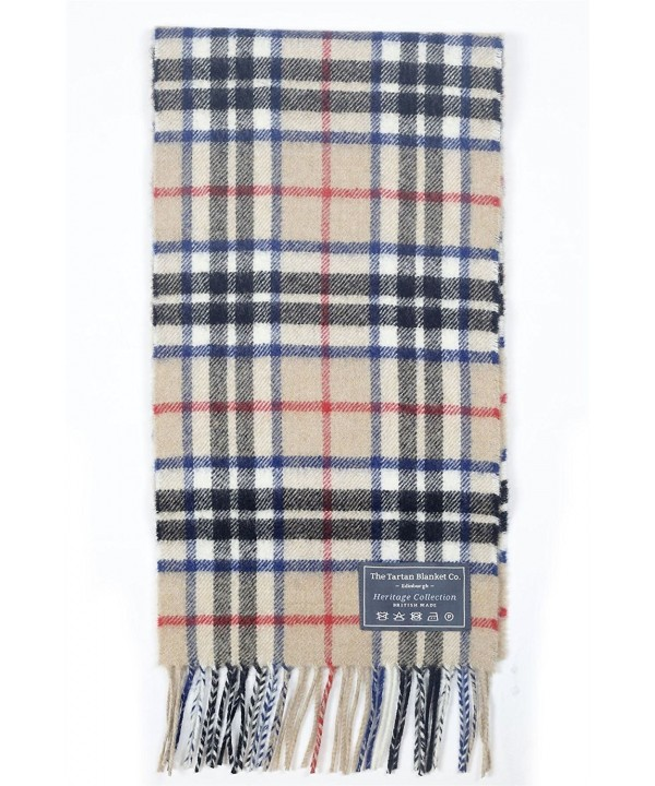 The Tartan Blanket Co. Scottish Lambswool Scarf Thomson Camel Tartan - C312E1CQBON