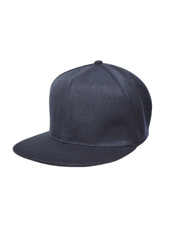 Unisex Adult Men Women Flat Bill Hat Plain Adjustable Snap Back 6 Panel Baseball Cap DF-3050 - Navy - CP1855A4RCE