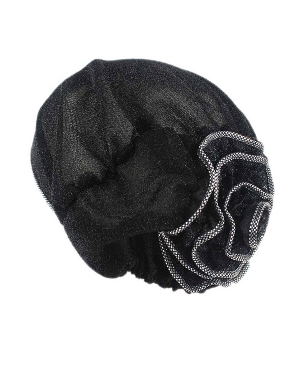 xzbailisha Women Turban Spun Gold Flower Head Covering Cap Dacron headgear - Black - CX17Z3EGRX0