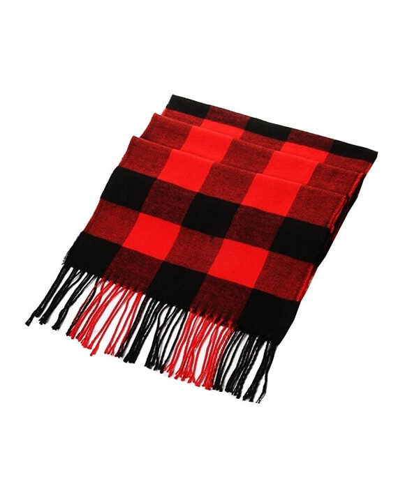 Joyci Fashion Winter Wool Spinning in Rich Plaids Scarf Shawl Wrap Unisex (Black Red) - C611RU4EWVT