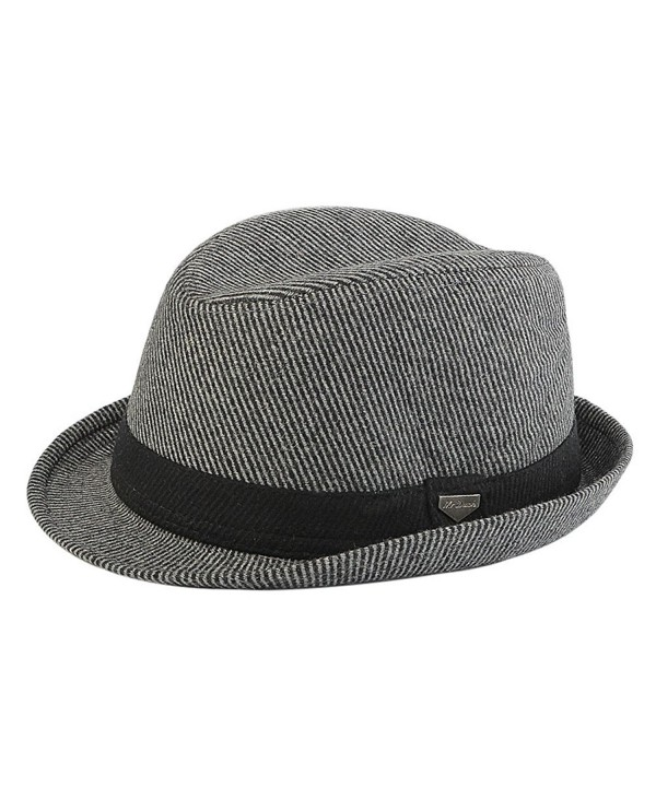 Men's Fashion Crushable Wool Hat Classic Fedora in 4 colors - Grey - C7185X4X6XS