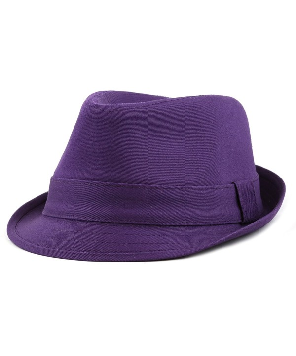 The Hat Depot 1400f 2093 100%Cotton Paisley Lining Premium Quality Fedora Hat - Purple - CQ12CQSRM9H