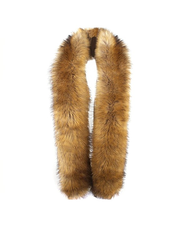 LITHER Women's Winter Faux Fake Fur Collar Scarf Wrap Shawl Shrug(70 inches long) - Natural Raccoon - C312N8PT71C