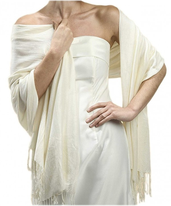 Mariell Women's Pashmina Style Wrap or Shawl - Ivory - CW116HGMMEP