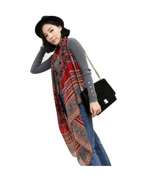 Tonsee 1PC Korean National Wind Printing Scarf Shawls Dual Long Paragraph Cotton Scarf For Women (Red) - CM125DG79AP