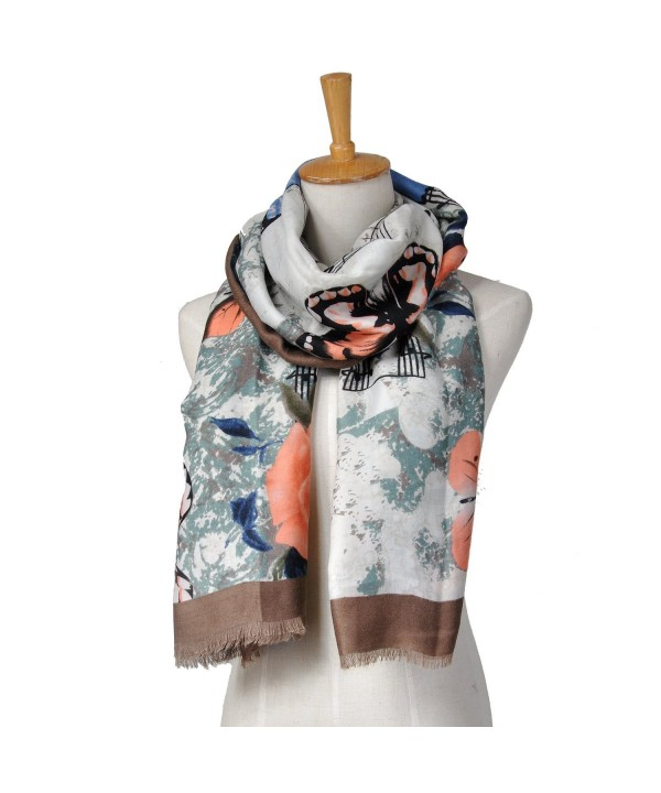 Lo Shokim Womens Winter Scarf Warm Gorgeous Shawl Butterflies Pattern - Gray - CB1862G3OX8