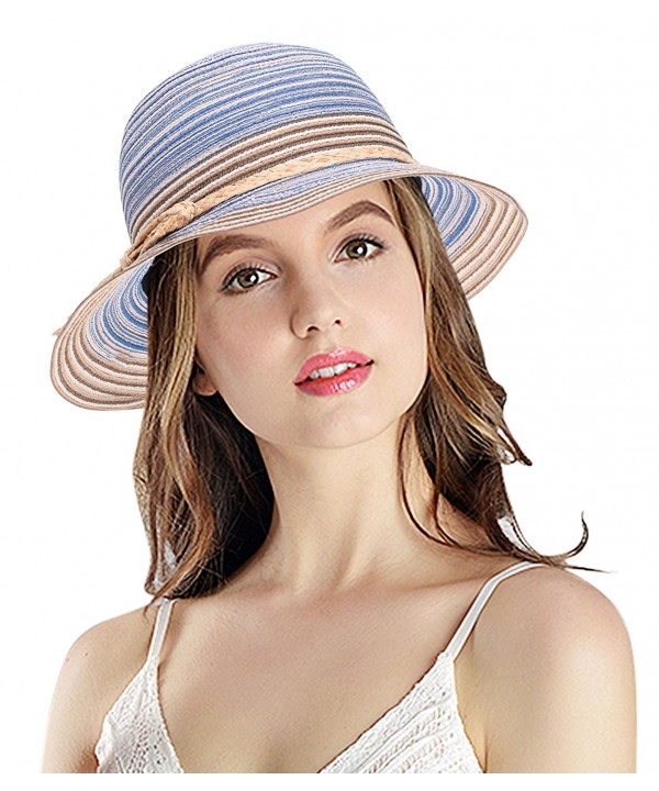 Women's Summer Foldable Floppy Colorful Stripe Straw Hat - Blue - CM182KESG2S