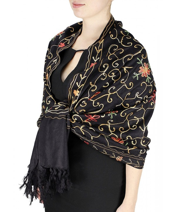 Elegantly Hand Embroidered Floral Design Pashmina Shawl - Black - CS11FARQ661