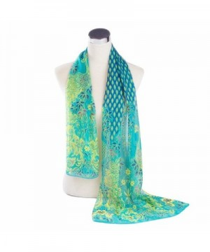 Reversible Voile Shawl 63&lsquo'20&lsquo' Women Scarf for Clothes Decorating - Blue - CT120TVIOXL