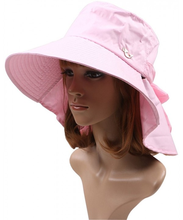 Ls Lady Womens Summer Flap Cover Reversible Cap Anti-UV UPF 50+ Sun Shade Foldable Wide BrimHat - Pink - C718C5ESNZD