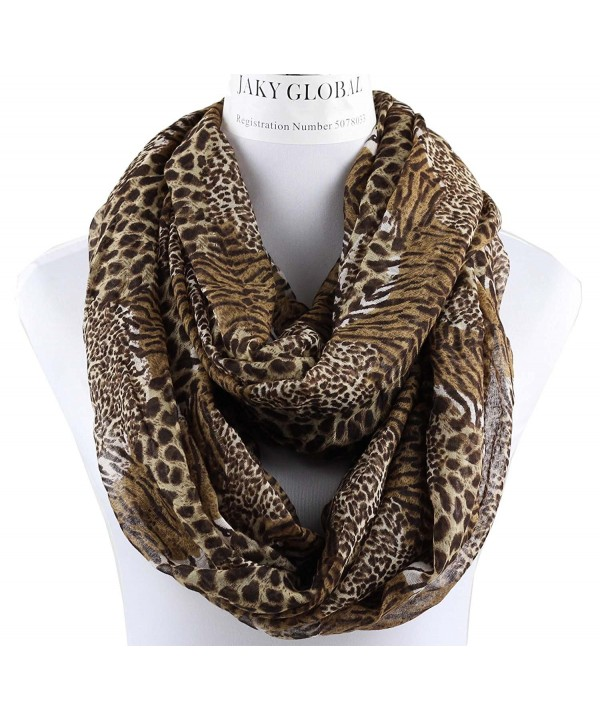 Infinity Scarf for Women Soft Light Weight Loop Circle Neck Wrap Scarves Solid Color - Leopard-brown - CP187Z8YXCE