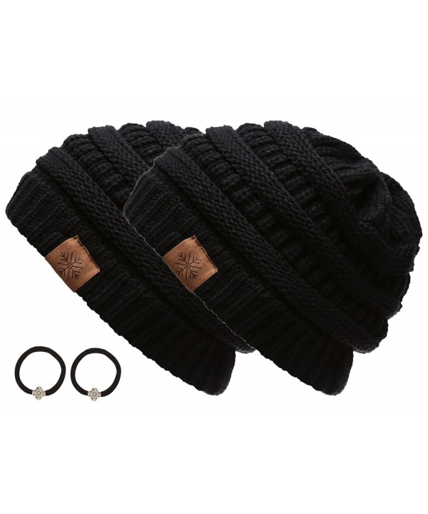 Women's Winter Warm Variety Colors Cable Knit Slouchy Skull Beanie Cap Hat with Hair Tie - Black&black - CA12MYU7AMP