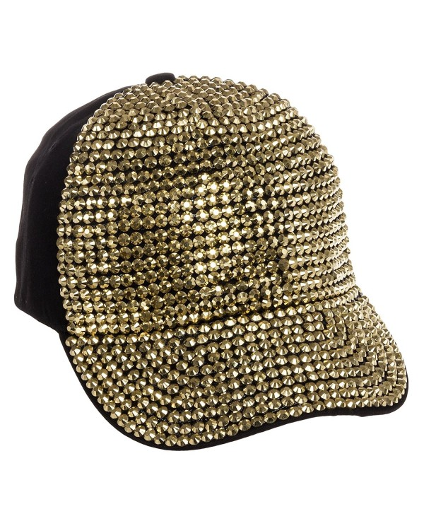Crystal Case Fully Studded Rhinestone Adjustable Cotton Baseball Cap Hat - Black - Gold - C011NXBCH47