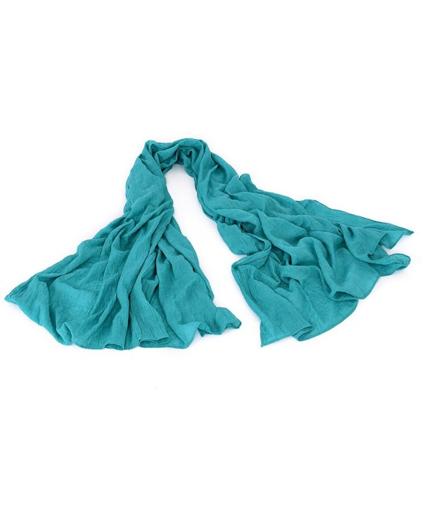 Lightweight Cotton Scarf Shawl Large - Soft Wrap Scarves Oversize Multi Styles - Cotton & Plain - Sky Blue - C711O4RHJSD