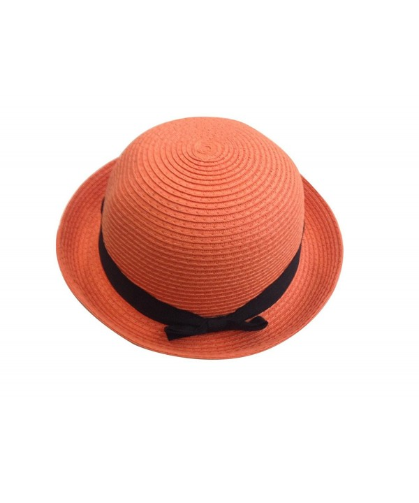 JTC Bowler Short Roll up Brim Sun Cap Bucket Hat with Bow Visor Prop Outfit - Orange - CW11KF2FLW7