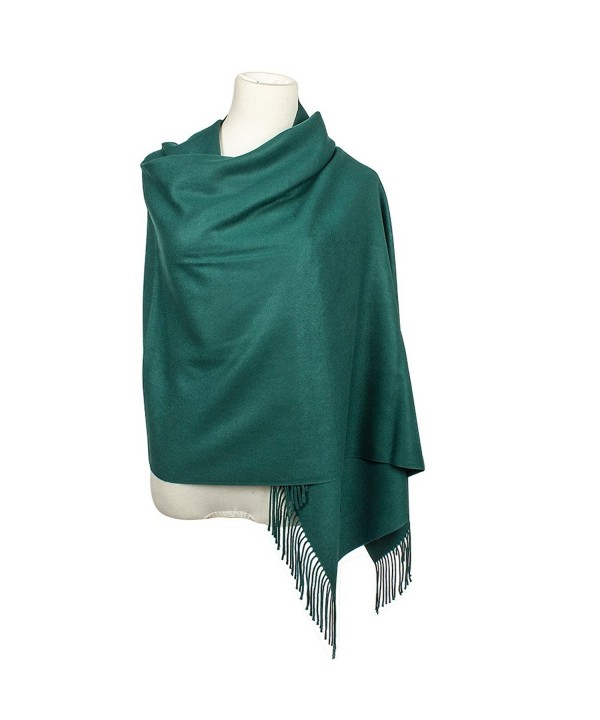Colleer Pashmina Style Wrap Scarf Solid Colour Shawl Pure Cashmere - All Seasons - Green - CF188IIGXS4