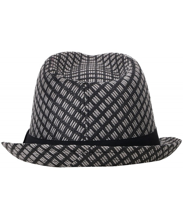 Summer Beach Straw Fedora Hat w/ Solid Hat Band - Black - CX1804O6Z2M