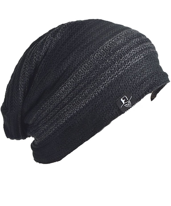 FORBUSITE Men Slouchy Oversize Winter Beanie Casual Skully Cap - Dark Grey With Black - CL12N0KLMRT