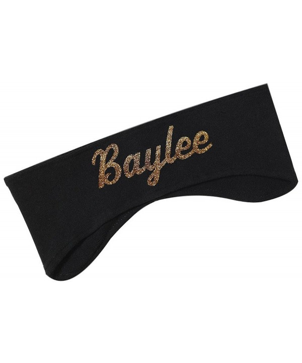 Polar Fleece Ear Warmer Headbands with Custom GLITTER Text for Cold Weather PERSONALIZED - Black - C612O4ABBUQ