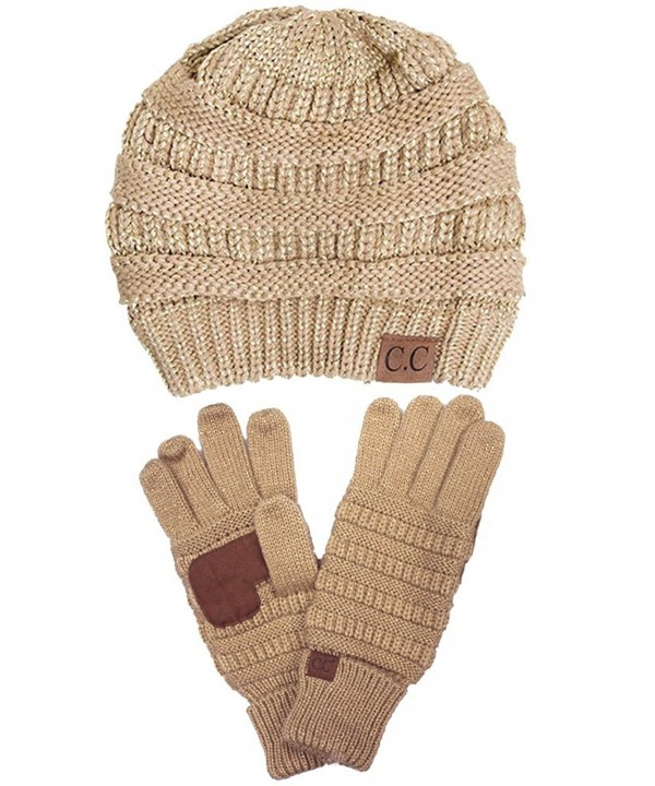 ScarvesMe C.C Trendy Warm Chunky Soft Stretch Cable Knit Beanie and Gloves Set - Metallic Gold - CT186LHZS9Q