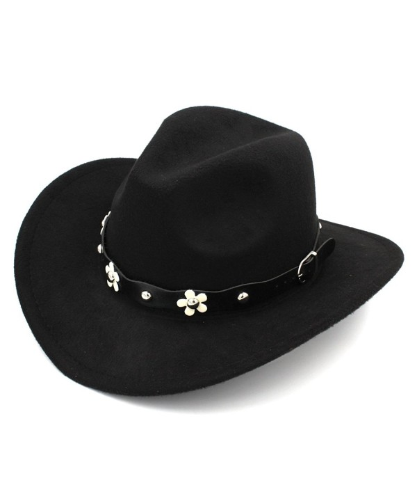 Elee Women Western Cowboy Hat Wide Brim Cowgirl Cap Flower Charms Leather Band - Black - CH1883E0532