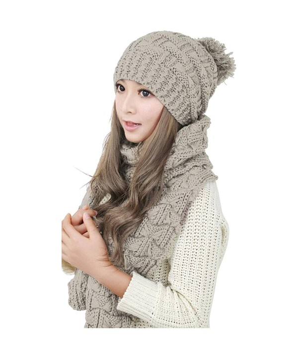 Winter Hat Scarf Cute Knit Crochet Beanies Cap Hats For Women - Beige - C912N8OY4TL