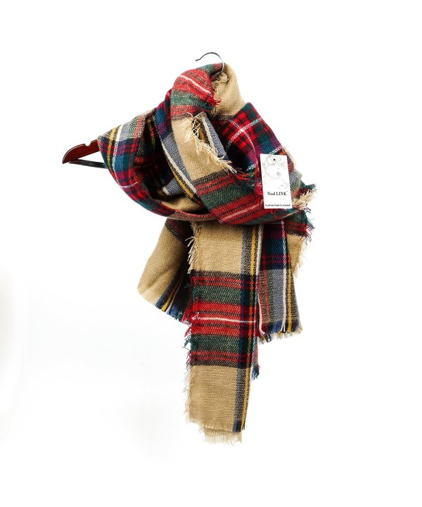 Women's Cozy Tartan Scarf Wrap Shawl Neck Stole Warm Plaid Checked Pashmina - C611PVLU0KZ
