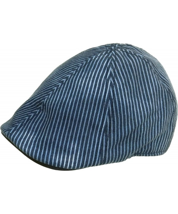Brooklyn Hat Co Union Six Panel Ivy Cap Faded Cotton Duck Bill Newsboy Hat - Blue & Blue - CS12D5ZCRD1