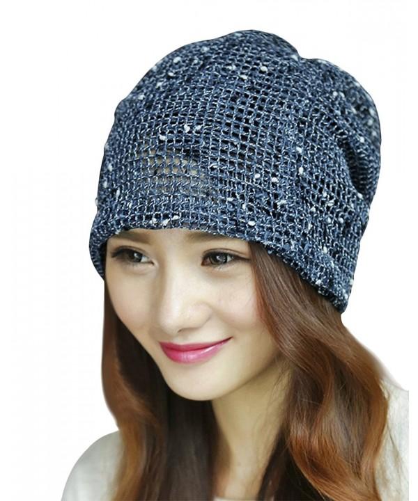 Womens Fashion Lightweight Slouchy Knit Beanie Warm Hat Stylish Headwear - Blue - C212L2SNGUV