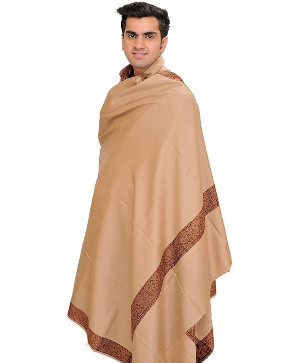 Exotic India Plain Men's Shawl with Brown Woven Border - Rugby Tan - CK126LALZO3