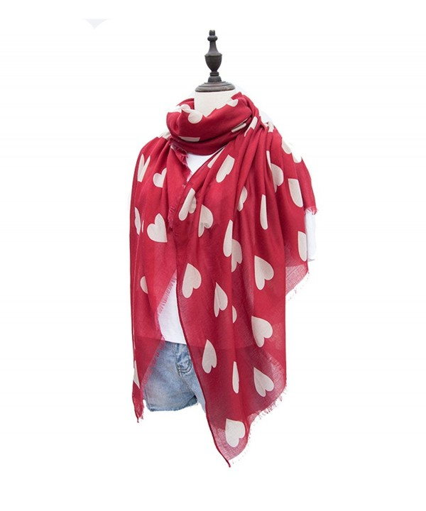 KUPARK Womens Fashion Sweet Heart Print Scarf Shawl Wrap - Wine Red - CQ185ESN76G