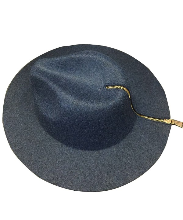 NE Norboe Men Women's Wide Brim Concave Panama Hat Luxury Zipper Wool Fedoras Cap - Blue - CO186L6WOO9