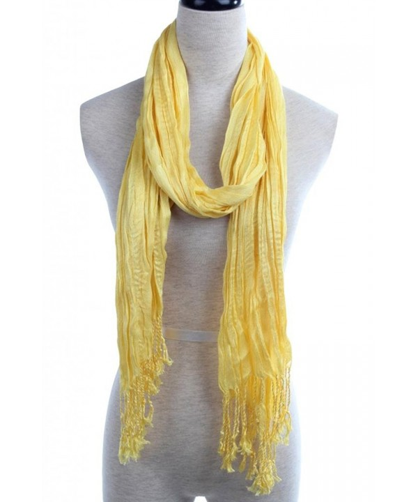 YYSTAR Fashion Breathable Tassel Trim Crinkle Cotton Scarf Wrap - Yellow - C311NQWMGL7