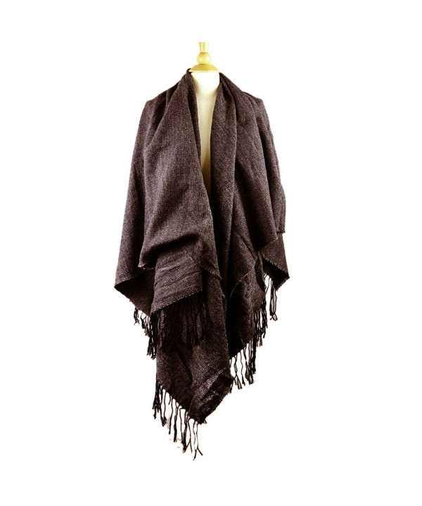 The Elixir Winter Knitted Poncho Cape Shawls Cardigans Sweater Tessel Wraps - Brown - CP12N38SLD7