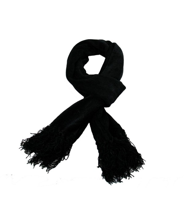 RW Chenille Long Soft Cozy Scarf - Black - CP11USK6S6T