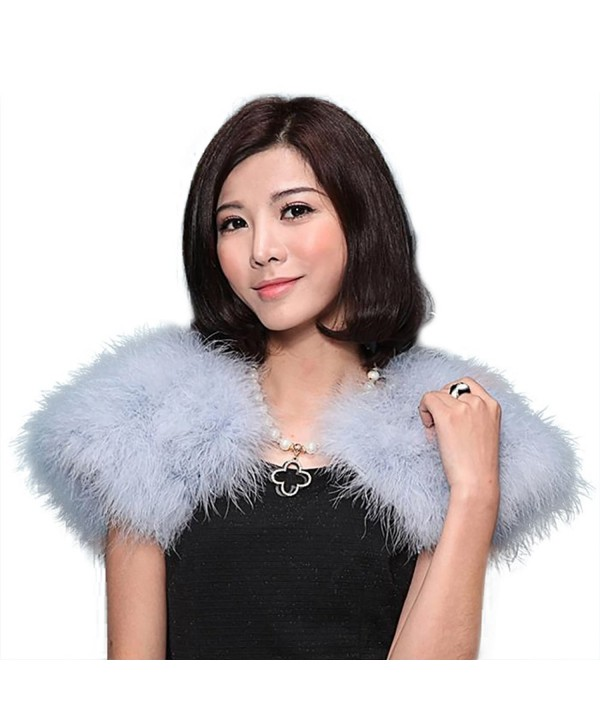 PATTONJIOE Short Ostrich Fur Wrap Shawl for Bridal Wedding Dress - Gray - CP12ODPF8WY