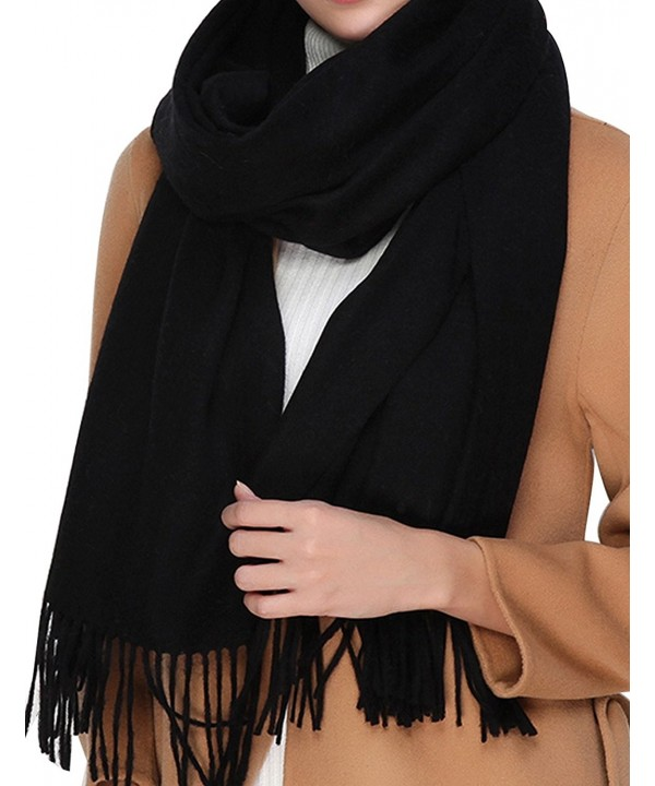 Cashmere Wool Scarf-Large Soft Women Men Scarves Winter Warm Shawl Gift - Black - CJ1888G9A4I