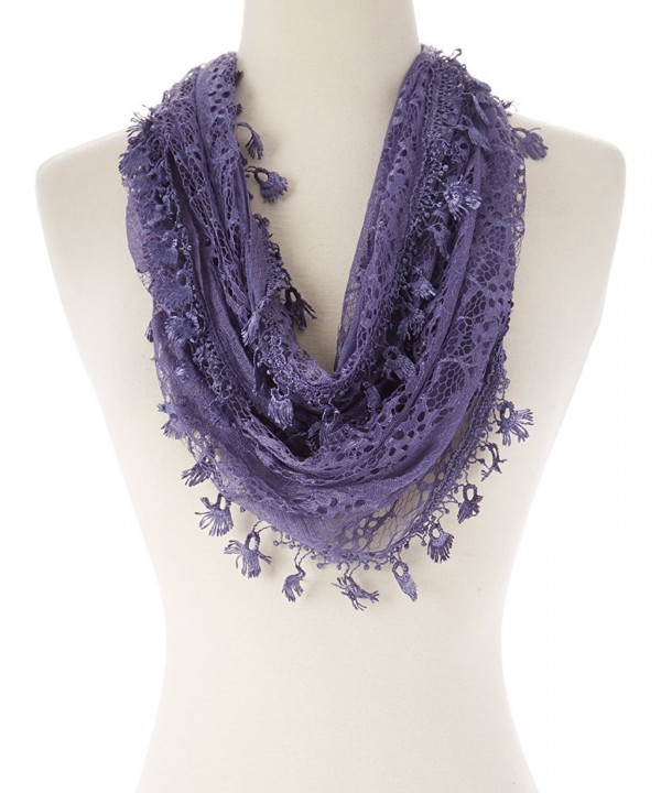 Tan's Women Lightweight Delicate Lace Infinity Scarf with Teardrop Fringes - 4 MediumPurple - C712HWAV1CH