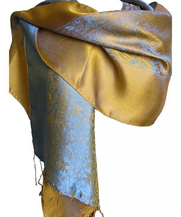Fandori Silk Scarf with Contrasting Color-Blue and Gold - CO113OI9XJV