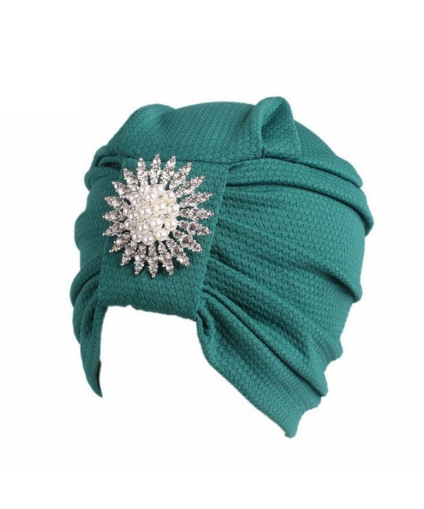 Fabal Women Lace Flower Turban Beanie Hat Bonnet Chemo Cap Muslim Scarf Hijab Lslamic Turbante - Green - CD184AAHD90