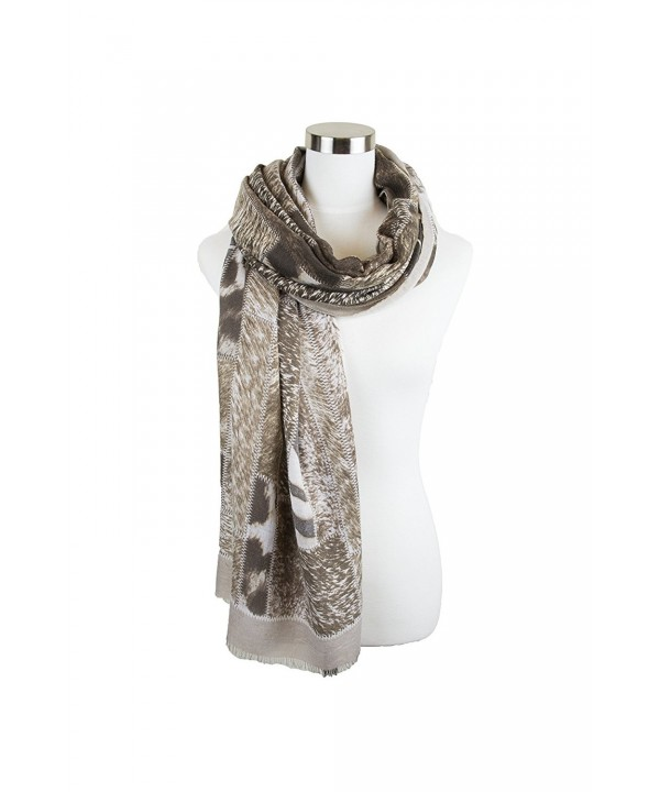 Womens Animal Color Block Pattern Printed Elegant and Soft Viscose Oblong Scarf - Taupe - CM1852HXG8Y