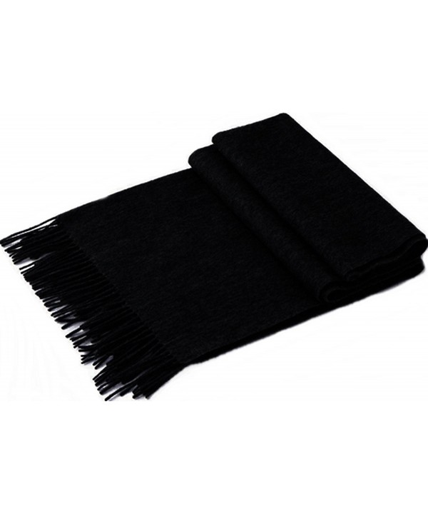 100% LAMBSWOOL PLAID SCARFS INFINITY WINTER DARK GREY CASHMERE FEEL LONG TARTAN SOLID COLOR WINTER - Black - CF189IW0ZU8