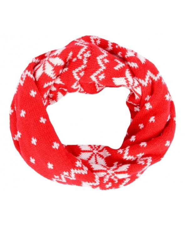 EUBUY Knitted Snowflake Style Winter Neck Warmer Circle Loop Scarf Scarves Wrap For Baby Toddler Kids(Red) - Red - CJ11PSQ69TT
