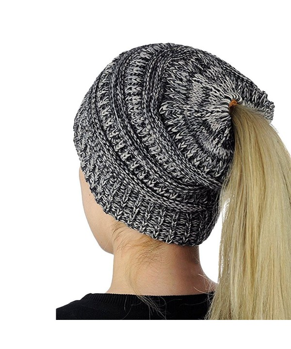 Mimgo Trendy Women Winter Knit Hat Beanie Tail Hat Ponytail Stretch High Bun Knit Hat (Grey) - CZ1889HN3DI